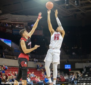 SMU forward Ethan Chargois takes a shot during the game between SMU and Jacksonville State on November 5, 2019 at Moody Coliseum in Dallas, Tx. (Photo by Joseph Barringhaus/Dallas Sports Fanatics)