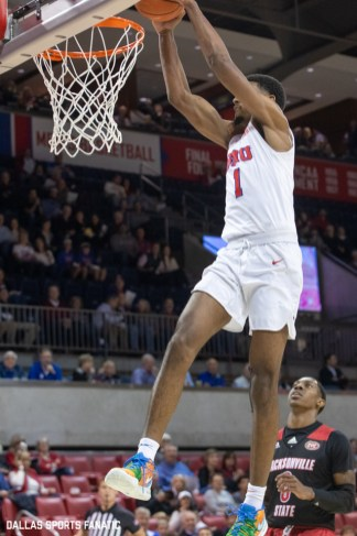 SMU forward Feron Hunt dunks during the game between SMU and Jacksonville State on November 5, 2019 at Moody Coliseum in Dallas, Tx. (Photo by Joseph Barringhaus/Dallas Sports Fanatics)