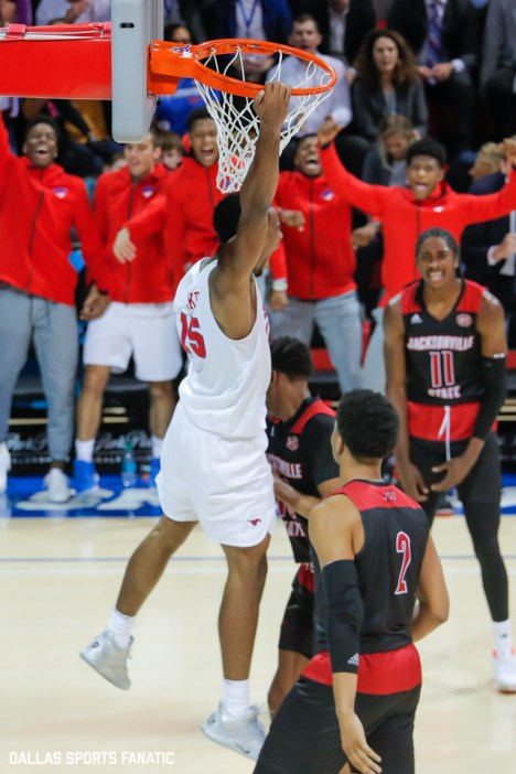 SMU forward Isaiah Mike dunks during the game between SMU and Jacksonville State on November 5, 2019 at Moody Coliseum in Dallas, Tx. (Photo by Joseph Barringhaus/Dallas Sports Fanatics)