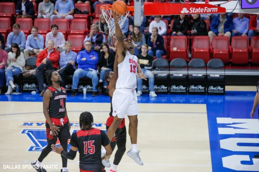 SMU forward Isaiah Mike goes up for a basket during the game between SMU and Jacksonville State on November 5, 2019 at Moody Coliseum in Dallas, Tx. (Photo by Joseph Barringhaus/Dallas Sports Fanatics)