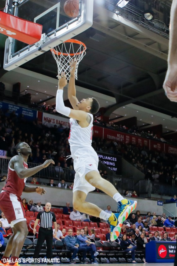 SMU forward Ethan Chargois throws up a layup during the first half of the game against Temple on January 18, 2020, at Moody Coliseum in Dallas, Tx. (Photo by Joseph Barringhaus/Dallas Sports Fanatic)