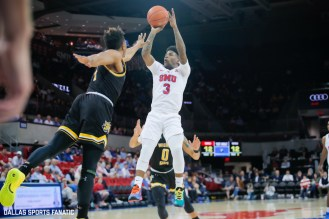 SMU forward Kendric Davis (3) takes a shot during the American Athletic Conference college basketball game between the SMU Mustangs and the Wichita State Shockers on March 1, 2020 at Moody Coliseum in Dallas, Texas. (Photo by Joseph Barringhaus/Dallas Sports Fanatic)