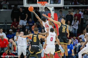 SMU forwards are swarmed during the American Athletic Conference college basketball game between the SMU Mustangs and the Wichita State Shockers on March 1, 2020 at Moody Coliseum in Dallas, Texas. (Photo by Joseph Barringhaus/Dallas Sports Fanatic)