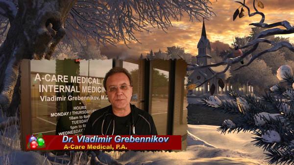 Русский доктор-терапевт в Далласе Владимир Гребенников поздравляет с Новым 2020 годом