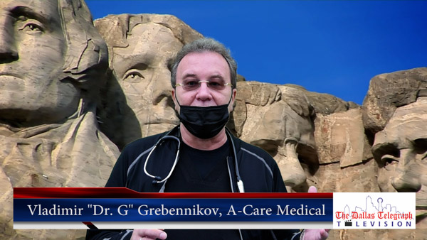 Vladimir 'Dr G' Grebennikov Russian Doctor in Dallas, of A Care Medical, P.A. Christmas 2020