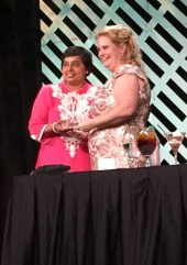 Nandika D'Souza receiving her award from SWE President Colleen Layman