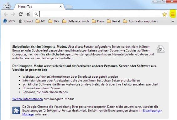Google Chrome: Anonym Surfen