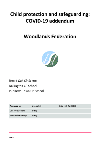 Child Protection & Safeguarding: COVID-19 Addendum