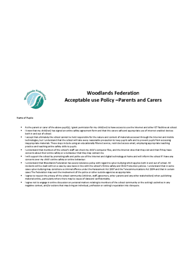 Acceptable Use Policy for Parents & Carers