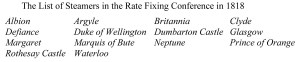 The List of Steamers in the Rate Fixing Conference in 1818