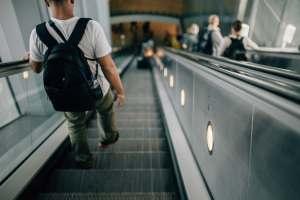 people on an escalator