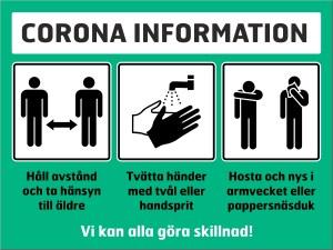 Skylt liggande, corona information, grön