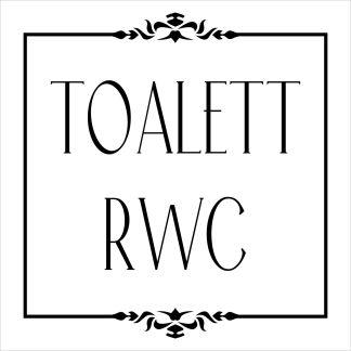 Skylt, RWC Toalett, vit, piktogram