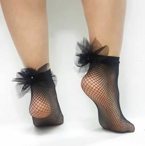Κάλτσακι διχτυωτό μαύρο με τούλι και πέρλα