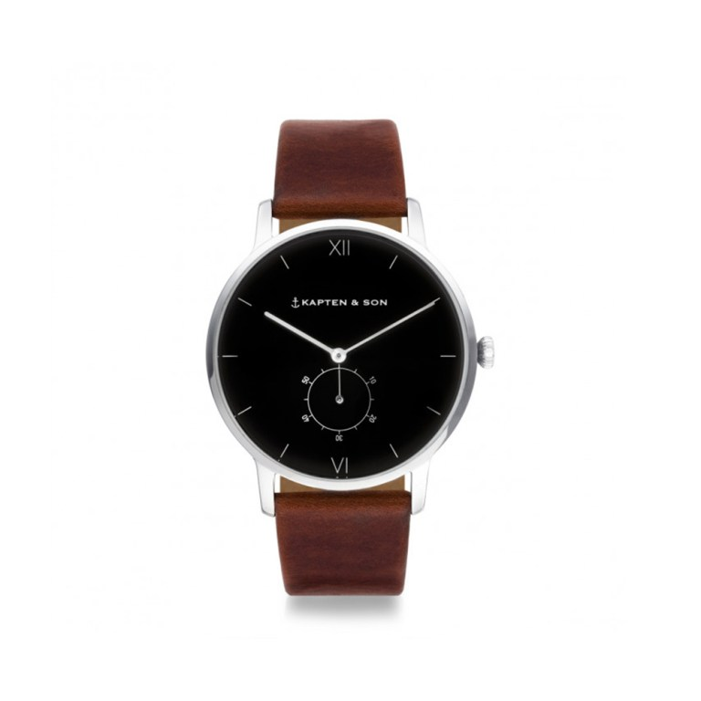"KAPTEN & SON Heritage Silver ""Black Brown Leather"""