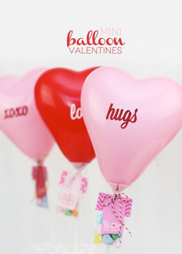 Mini Balloon Valentines With Free Printable Damask Love