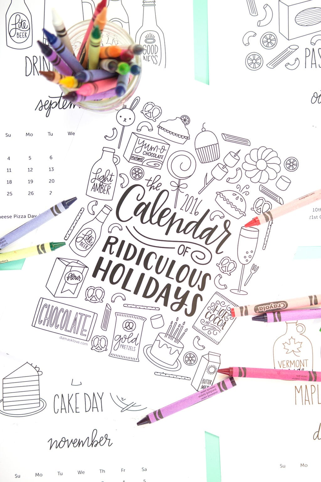 Free Printable Coloring Calendar Pages