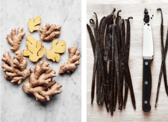 Ingrédients jus de gingembre à la vanille