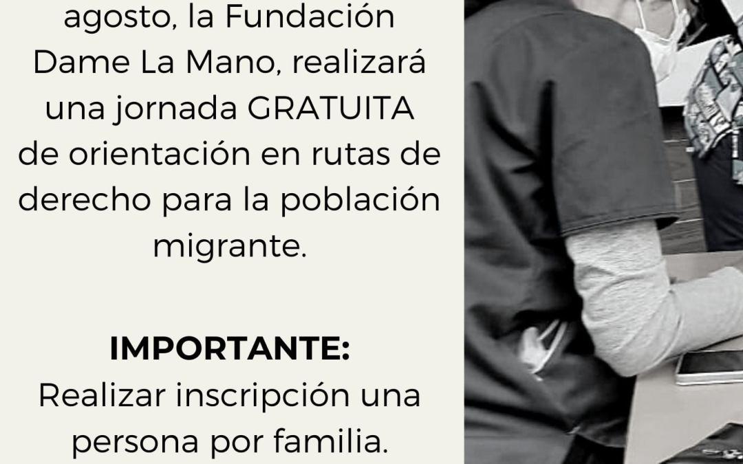 JORNADA DE ORIENTACIÓN EN RUTAS DE DERECHO PARA POBLACIÓN MIGRANTE