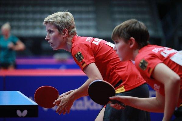 Damen-Europameisterinnen: Kristin Land und Nina Mittelham, Deutschland   Damen Tischtennis-Bundesliga