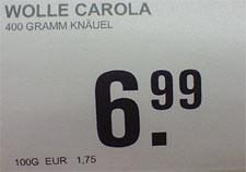 Garn Carola, Preis