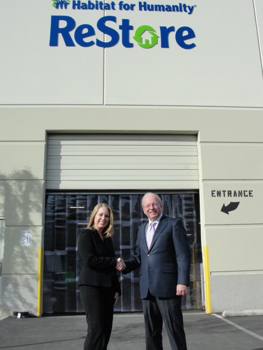 Rhea Stumm is the new ReStore manager.  She is welcomed by Dennis Baxter, executive director of Habitat for Humanity San Bernardino Area, Inc.