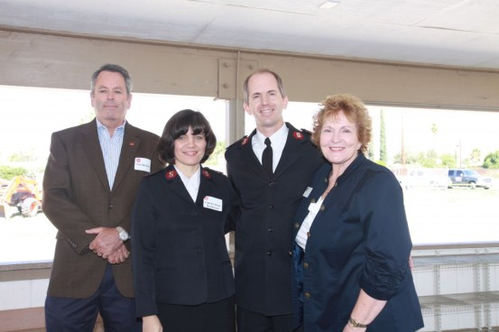 Photo caption 2 Salvation Army:  Reaching out to faith based communities Dr. Kathleen Henry attended the ground breaking for the new Salvation Army Corps location in San Bernardino.  Left to right: Salvation Army Board member Tom Brickley, new Corps leaders Captain Anya Henderson, Major Dan Henderson and Dr. Kathleen Henry.