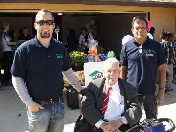 """At the Hesperia House ribbon cutting in October of this year Habitat for Humanity ReStore Manager Jon Biggs with Hesperia City Council Member Russell """"Russ"""" Blewett and Tim Garcia Habitat for Humanity construction manager"""