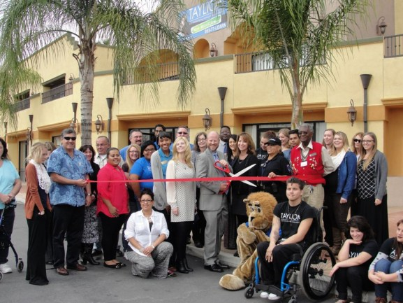 Community leaders and Taylion leaders cut the Ribbon at the new Taylion Academy in San Bernardino.