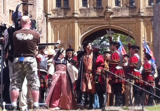 Damian Lewis filming 'Wolf Hall' in Wells