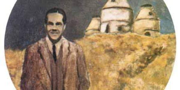 Luis Cernuda 1994 Óleo sobre madera 20 cm diám.