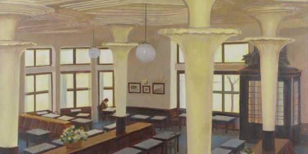 Arantza y Cloe en el café Dindurra. 2008. Óleo sobre lienzo. 38 X 54 cm