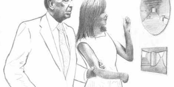 Borges y María Kodama en Siboney 2002 Lápiz sobre papel 25 x 35 cm