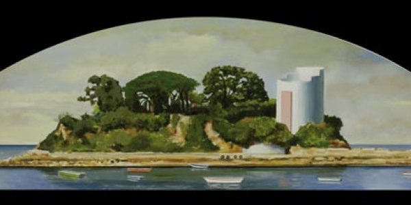 Isla en la ensenada de Santa Cruz.Óleo/madera. 28 x 116cm