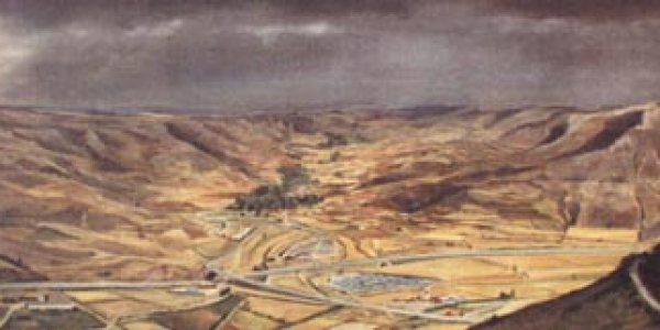 Valle de Arbujuelo desde Medinaceli. 86 x 200 cm