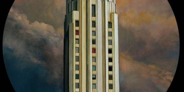 Edificio Gershwin. 2007. Óleo/madera. 50 cm diám.