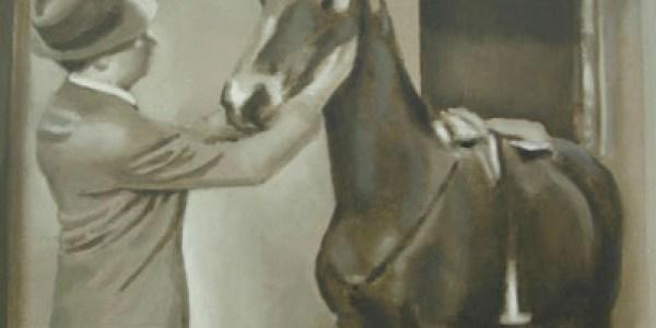 El último caballo. 2007. Óleo sobre lienzo. 30×30 cm.