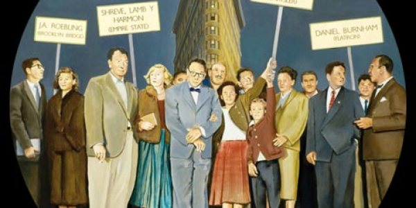 Neoyorquinos en la Quinta Avenida. 2007. Óleo/madera. 75 x 75 cm