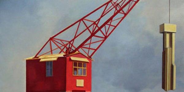La grúa roja. 2007. Óleo/tela. 100 x 100 x 117 cm