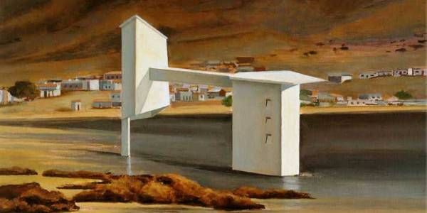 Mansion Morabeza. 2004. Óleo sobre madera. 29 x 55 cm