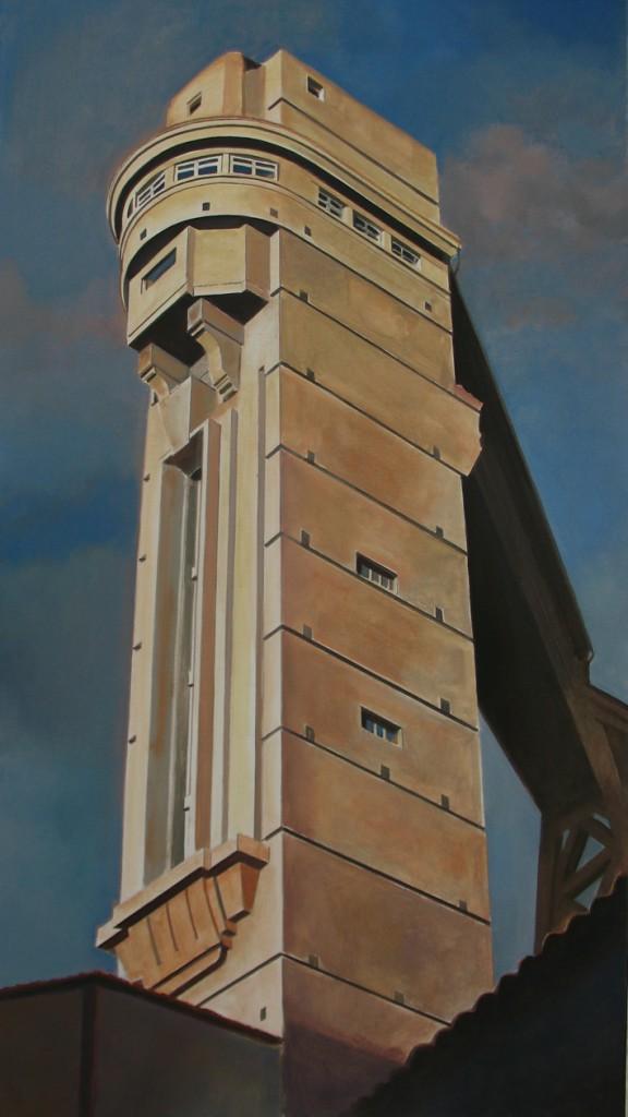 ASCENSOR DE BEGOÑA II. 115x65cm. Óleo s/ tela.