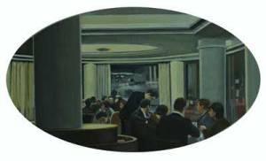 Salón de té Capitol, 2010, óleo/tabla, 29x49 cm.
