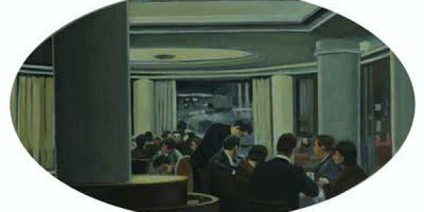 Salón de té Capitol, 2010, óleo/tabla, 29×49 cm.