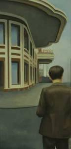 El hombre del Capitol, 2010, óleo/lienzo, 84x41 cm.