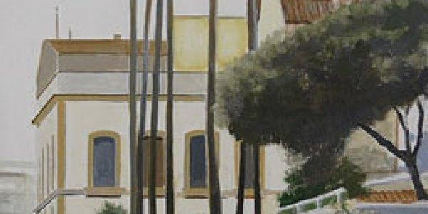 Calle Betis. Óleo/madera. 58 x 28 cm