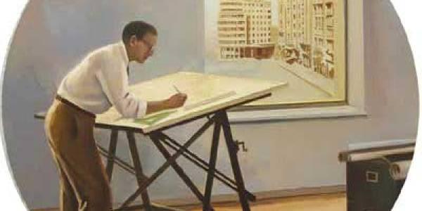 El sueño del arquitecto I. 2008. Óleo/tabla. 75 cm. diámetro