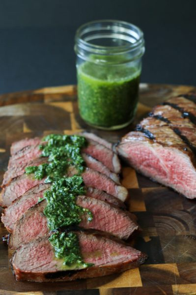 marinated tri tip with chimichurri sauce