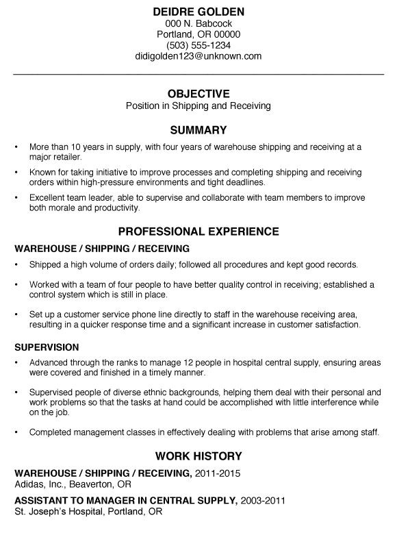 resume examples for warehouse position