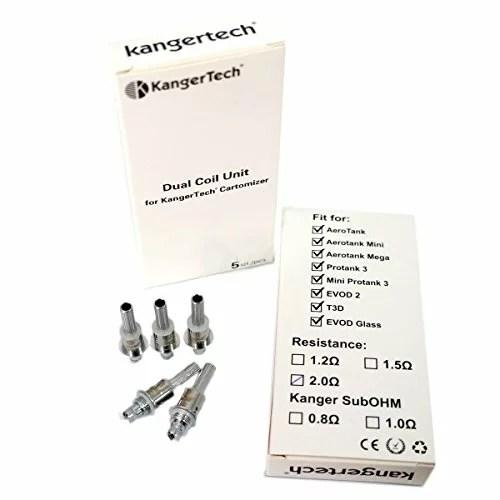 5er Pack Upgrade Dual Coil Verdampferköpfe V2 von Kanger, eZigarette (1.5 Ohm).