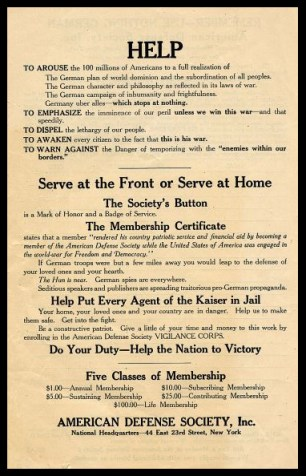An American Defense Society leaflet from 1917. Teddy Roosevelt was an honorary President of the society.